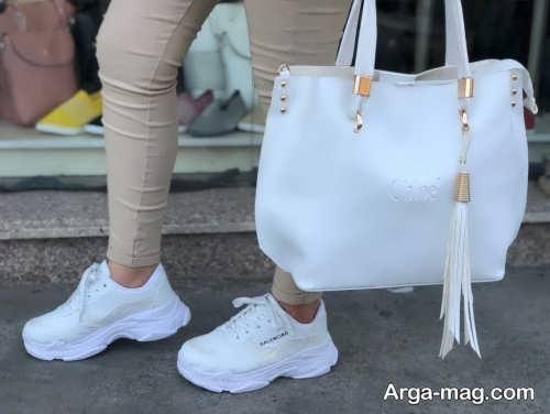 ست لباس با کفش سفید