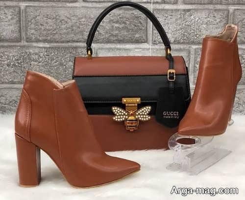 ست کیف و کفش قهوه ای زنانه