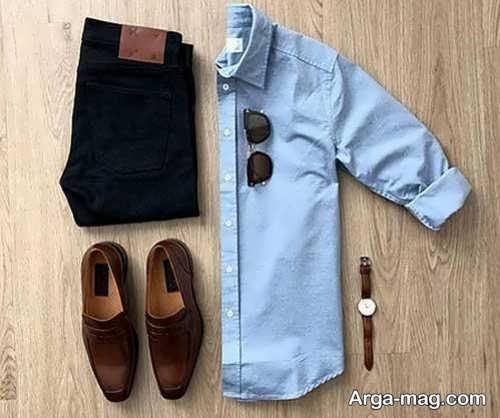 ست لباس مردانه با کفش قهوه ای