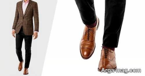 ست شلوار مشکی مردانه با کفش قهوه ای