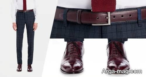ست لباس مردانه همراه با کفش قهوه ای