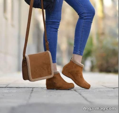 ست لباس زنانه همراه کفش قهوه ای