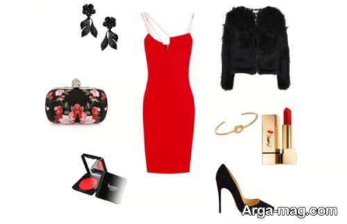 ست لباس مشکی و قرمز ساده