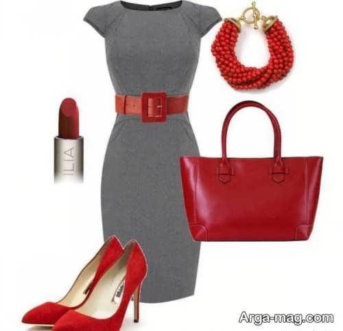 ست لباس های طوسی و قرمز ساده