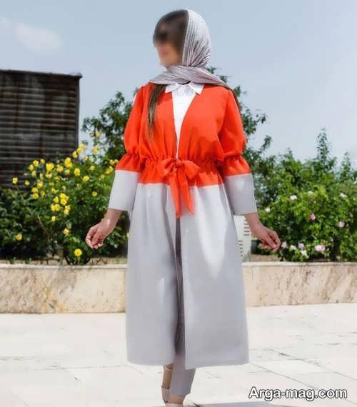 مانتو طوسی و نارنجی 1400