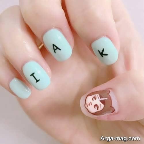طراحی ناخن نوشته دار دخترانه