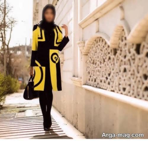 مانتو زرد و مشکی زنانه