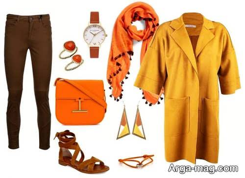 ست مانتو زرد با رنگ نارنجی