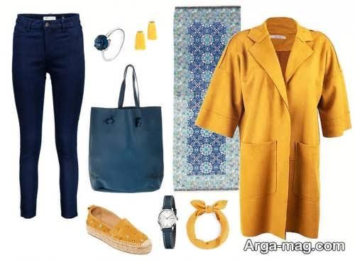ست مانتو زرد با رنگ آبی