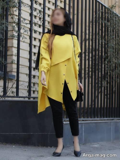 مانتوی کوتاه زرد