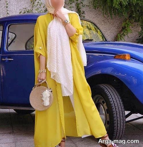 ست مانتو زرد زنانه