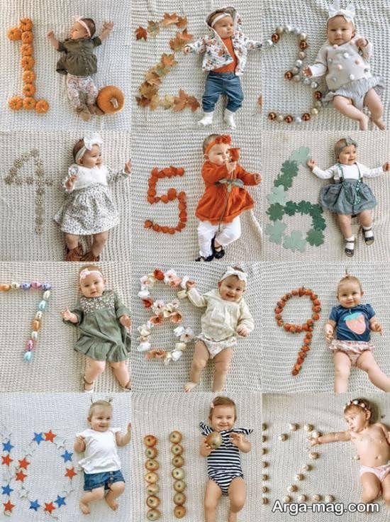 ژست های متنوع ماهگرد نوزاد