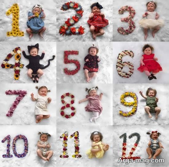 انواع ژست عکس ماهگرد نوزاد