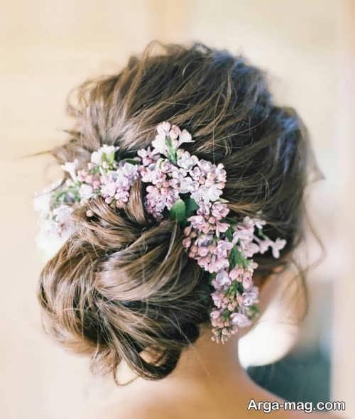 شینیون موی زیبا با گل طبیعی