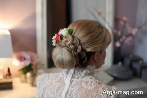 شینیون زنانه با گل