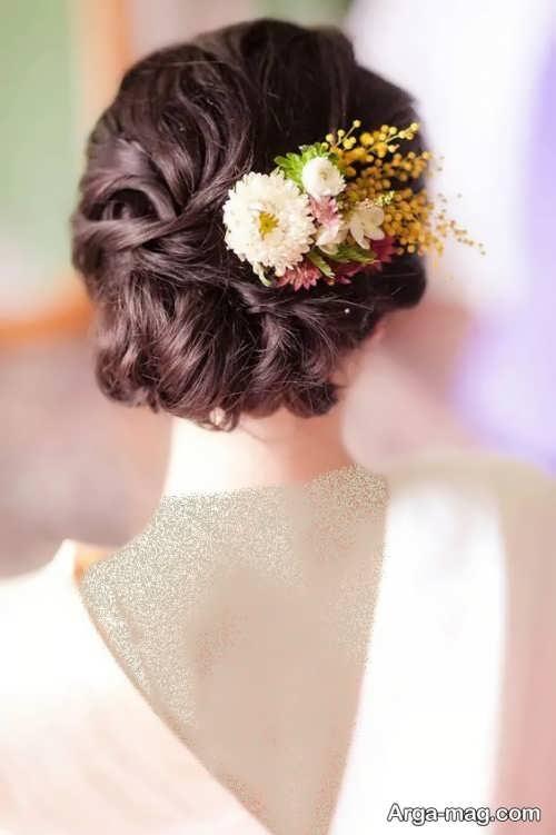 مدل شینیون با گل طبیعی