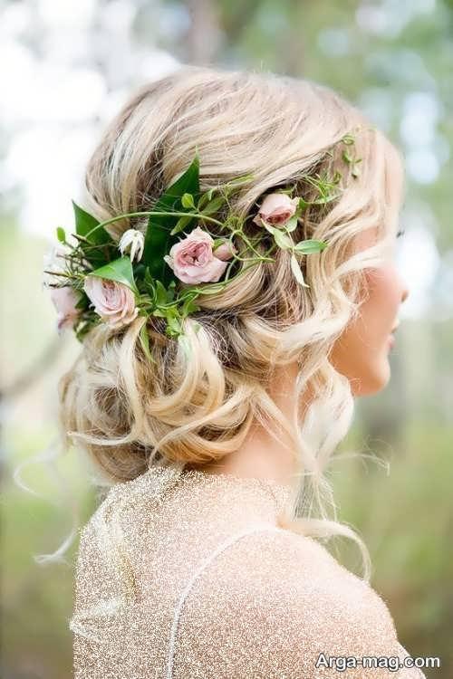 شینیون مو بسته با گل طبیعی