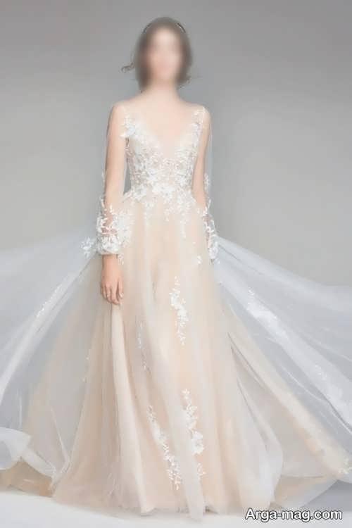 مدل لباس عروس کرمی و شیک