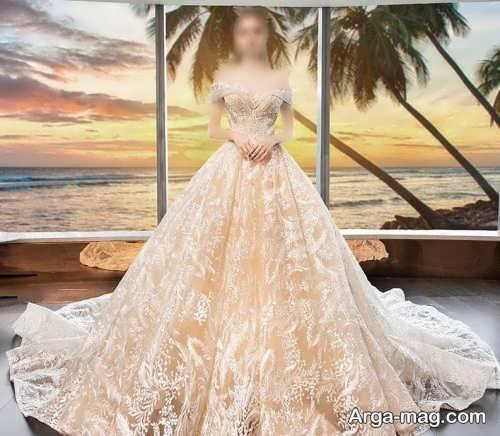 مدل لباس عروس کرمی و کار شده