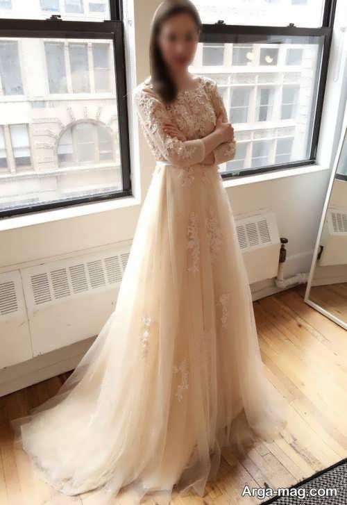 مدل لباس عروس زیبا و کرمی