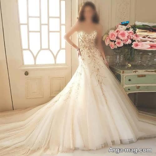 پیراهن عروس کرمی رنگ