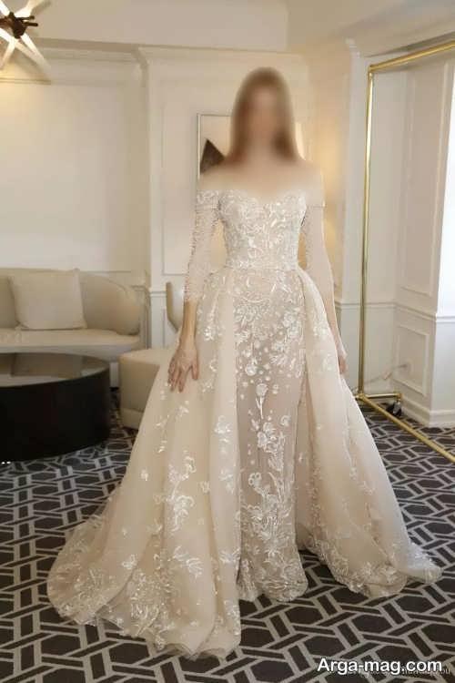 مدل لباس عروس زیبا کرمی