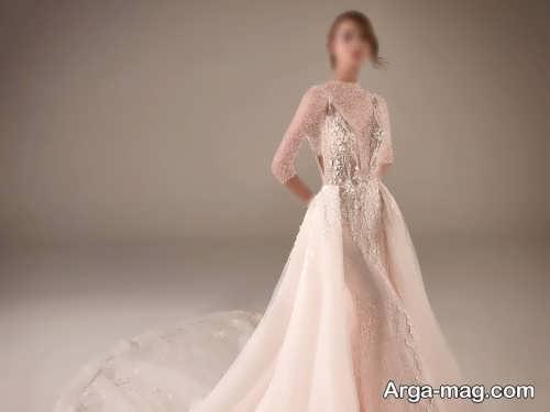 مدل پیراهن عروس کرمی