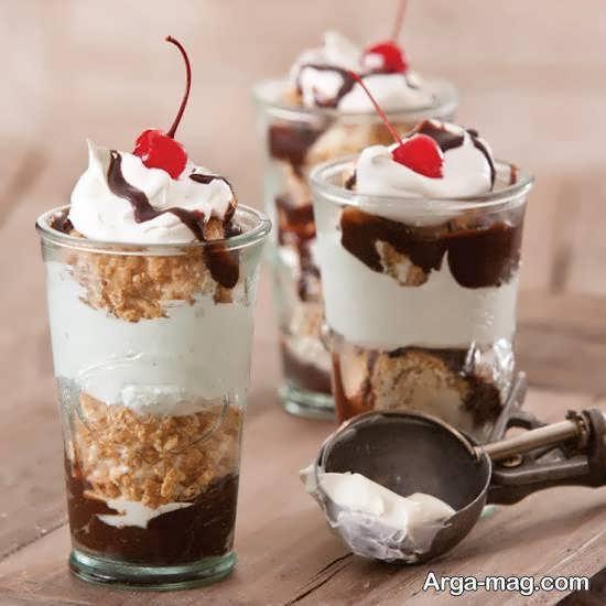 تزیین بستنی در جام و یا لیوان