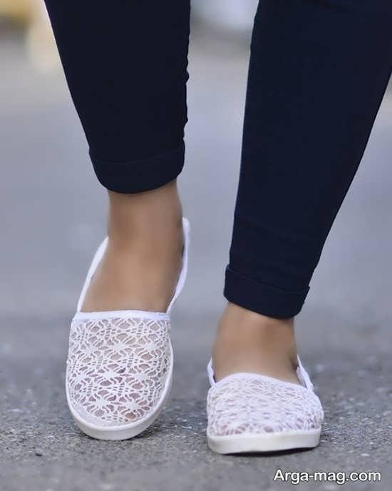 نمونه کفش سفید توری