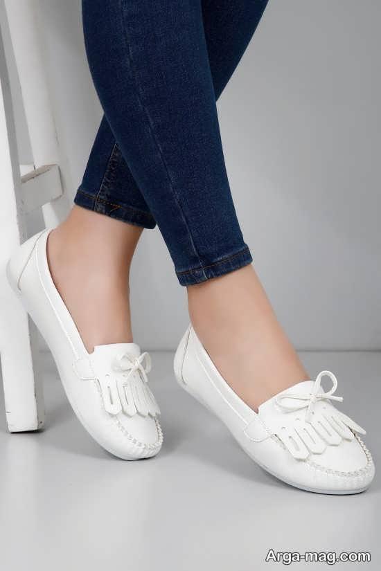مدل کفش سفید دخترانه کالج