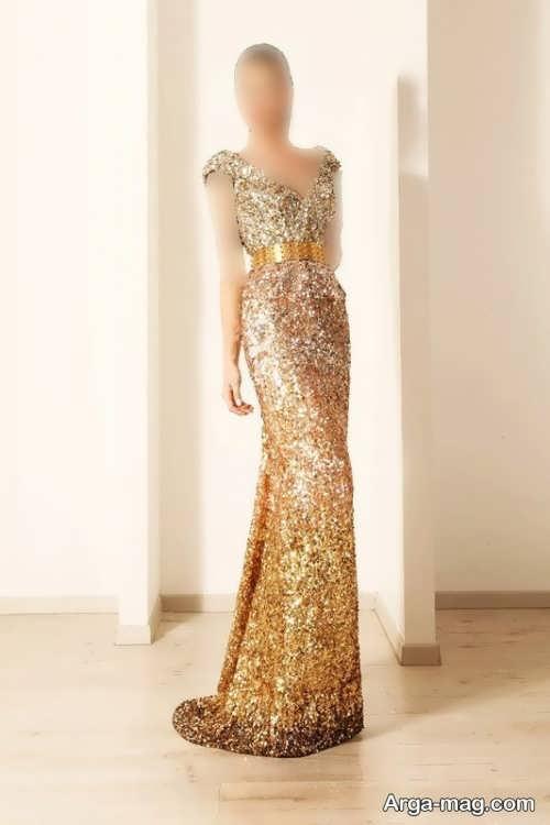 مدل لباس مجلسی بلند و طلایی