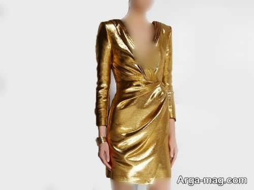 مدل لباس مجلسی طلایی با ست های زیبا و جذاب