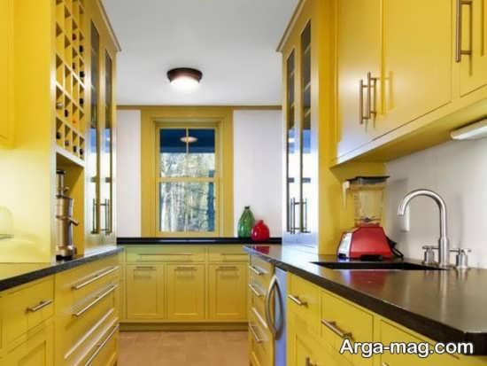 دکوراسیون آشپزخانه رنگ لیمویی