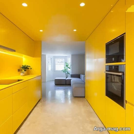 طراحی شیک رنگ لیمویی در آشپزخانه