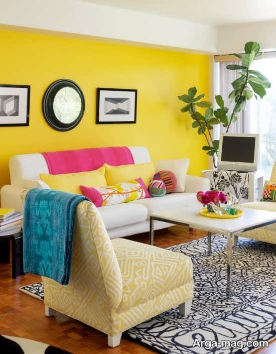 طراحی زیبا رنگ لیمویی برای پذیرایی
