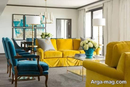 طراحی پذیرایی رنگ لیمویی