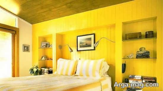 دیزاین اتاق خواب رنگ لیمویی