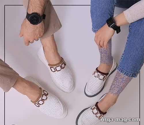 ست کفش سفید زنانه و مردانه