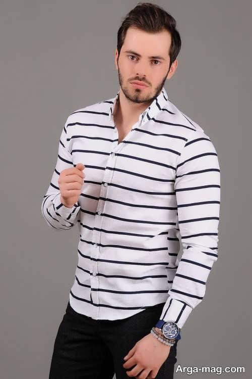 مدل پیراهن راه راه مردانه