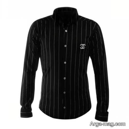 پیراهن راه راه مردانه با رنگ مشکی