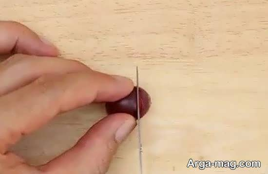 آموزش تزیین گلابی به شکل جوجه تیغی
