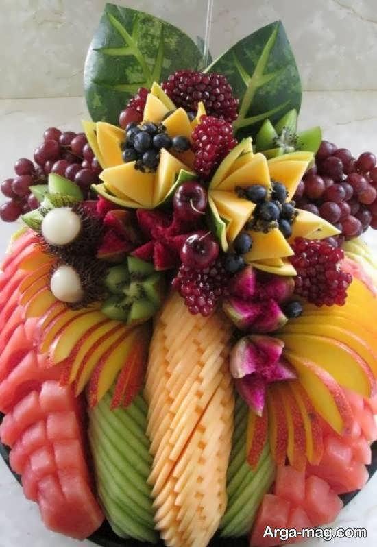 انواع نمونه های تزیین میوه پوست کنده