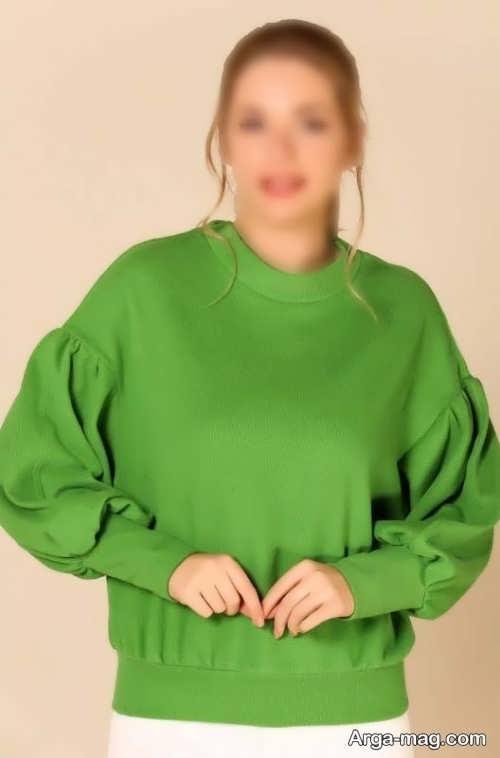 مدل بلوز آستین پف دار سبز