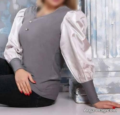 مدل بلوز آستین پف دار طوسی و سفید
