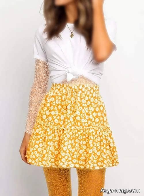 مدل دامن زرد تابستانه