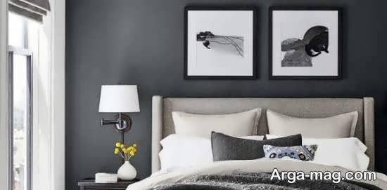 انواع اایده های زیبا و شیک دکوراسیون اتاق خواب طوسی