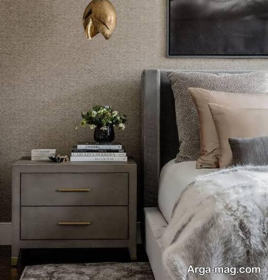 انواع الگوهای چیدمان اتاق خواب طوسی