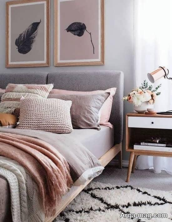 انواع نمونه های متنوع دکوراسیون اتاق خواب طوسی