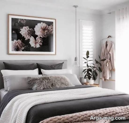 انواع ایده های زیبا و جدید چیدمان اتاق خواب طوسی