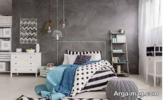 انواع نمونه های جالب چیدمان اتاق خواب طوسی